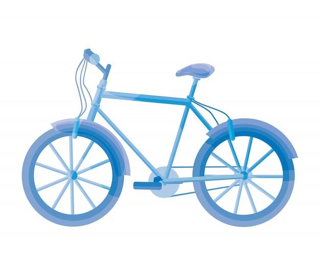 Bicicletta blu su bianco. illustrazione della bici.