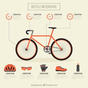 Bicicletta con attrezzature infografica