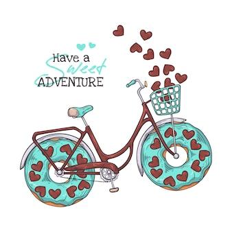 Bicicletta con ciambelle invece di ruote.