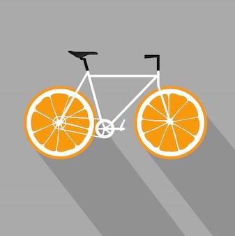 Bicicletta con ruote di frutta arancione