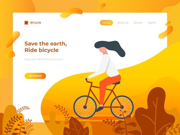 Bicicletta da equitazione per il sito web e lo sviluppo mobile.