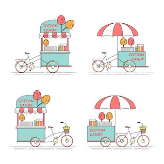 Bicicletta di zucchero filato. carrello su ruote. chiosco di cibi e bevande illustrazione vettoriale arte linea piatta. elementi per la costruzione, l'edilizia abitativa, il mercato immobiliare, la progettazione architettonica, l'insegna di investimenti immobiliari