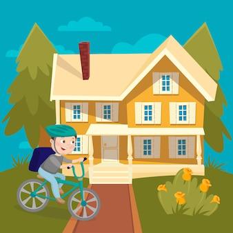 Bicicletta felice di guida del ragazzo vicino alla casa. vacanze estive per bambini. illustrazione vettoriale