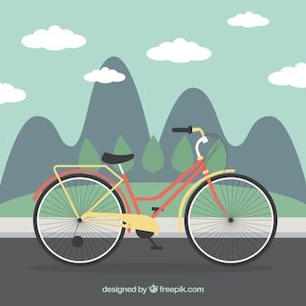 Bicicletta in un paesaggio di sfondo