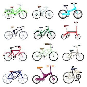 Bicicletta vettore ciclisti ciclo di trasporto in bicicletta con ruote e pedali illustrazione in bicicletta set di ciclista ciclismo velocità gara sport trasporto isolato set di icone