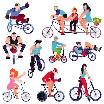 Bicicletta vettore motociclisti carattere persone in bicicletta su ciclo trasporto illustrazione set di uomo donna bambino in bicicletta e ciclista sportivo ciclismo bici isolata on white
