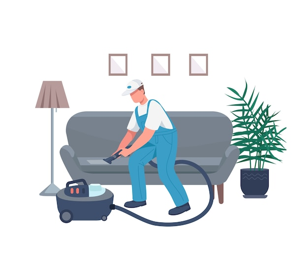 Bidello pulizia divano colore piatto carattere senza volto. governante con aspirapolvere isolato fumetto illustrazione per web design grafico e animazione. servizio di portineria, faccende domestiche