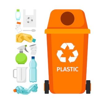 Bidone della spazzatura arancione con plastica