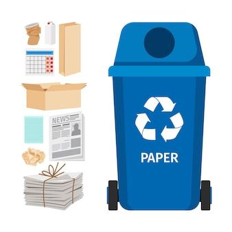 Bidone della spazzatura blu con elementi di carta
