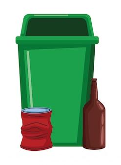 Bidone della spazzatura e bottiglia di vetro