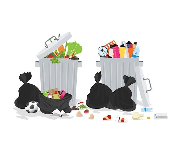 Bidone della spazzatura pieno di spazzatura traboccante
