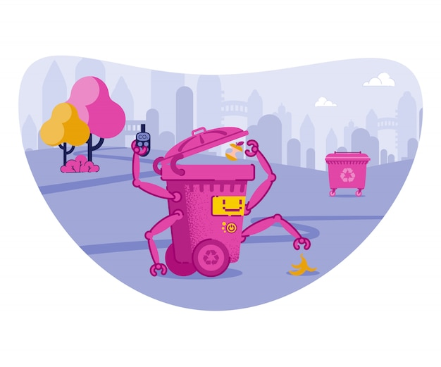 Bidone robot che getta spazzatura con le mani automatiche.