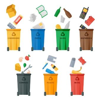 Bidoni della spazzatura colorati con tipi di rifiuti vettoriali.