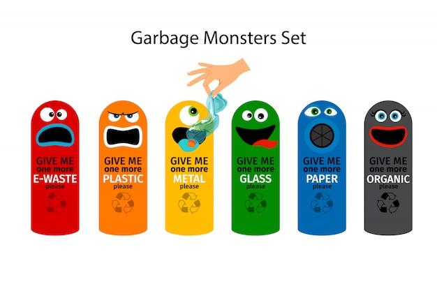 Bidoni della spazzatura per bambini con facce mostruose di cartoni animati