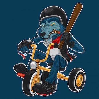 Big bad wolf in sella al triciclo