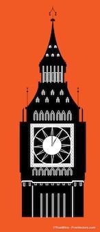 Big ben torre dell'orologio silhouette