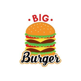 Big burger logo design vettoriale