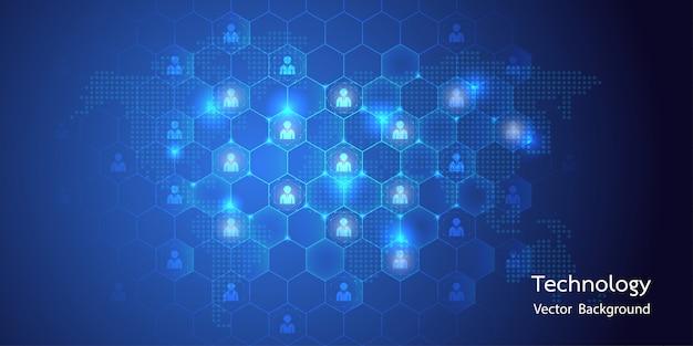 Big data astratti con connessione avatar e sfondo a nido d'ape