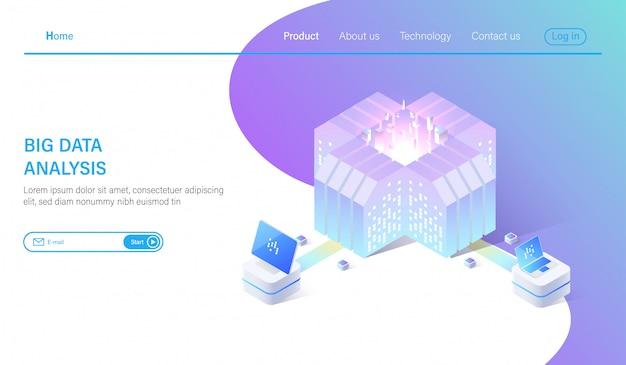 Big data e sistema di analisi del data center isometrico