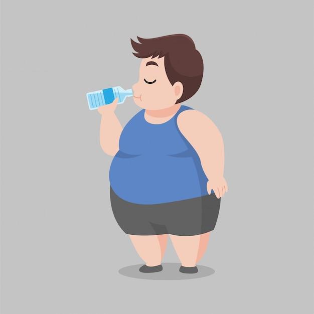 Big fat man bere acqua dolce, pulire la bottiglia d'acqua, buona salute, dieta cartoon, perdere peso