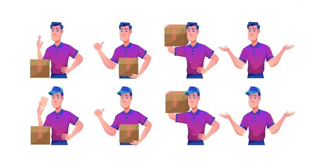 Big set servizio di consegna con delivery man in posizioni diverse
