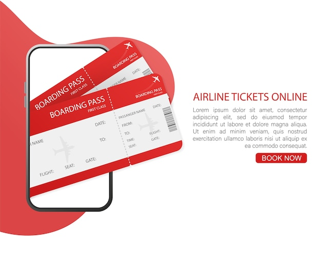 Biglietti aerei online con mani e smartphone in formato. illustrazione.