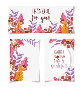 Biglietti d'invito del ringraziamento decorazione floreale foglie