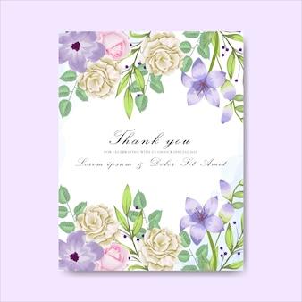 Biglietti d'invito di nozze bellissimi fiori disegnati a mano
