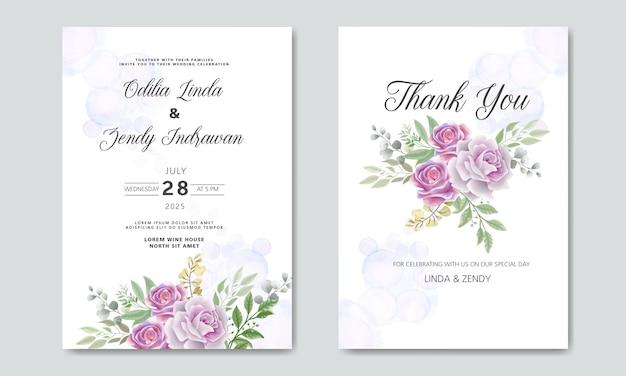Biglietti d'invito di nozze con belle floreali