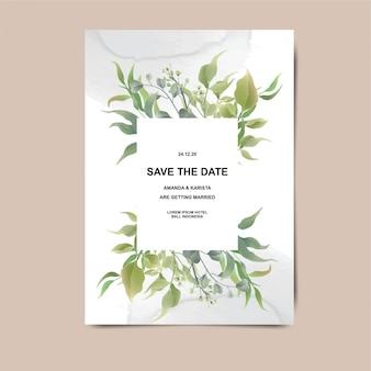 Biglietti d'invito di nozze con decorazioni a foglia e sfondi ad acquerello