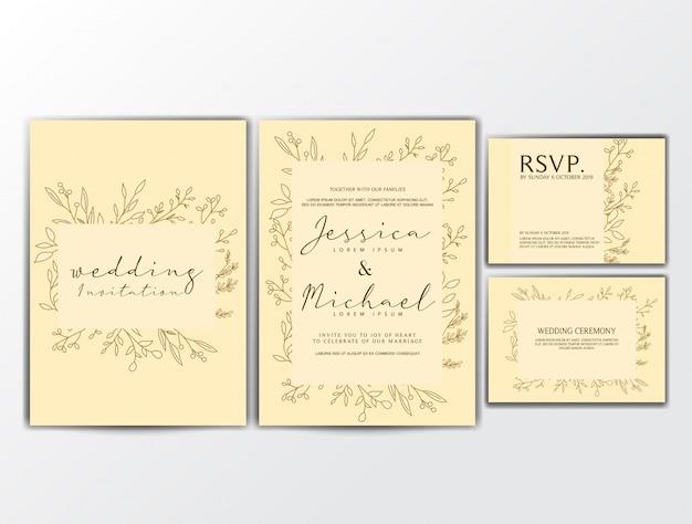 Biglietti d'invito di nozze con ornamento floreale