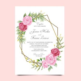 Biglietti d'invito di nozze floreale stile acquerello