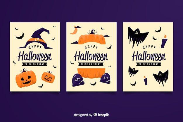Biglietti d'invito festa di halloween con diverse illustrazioni spaventose
