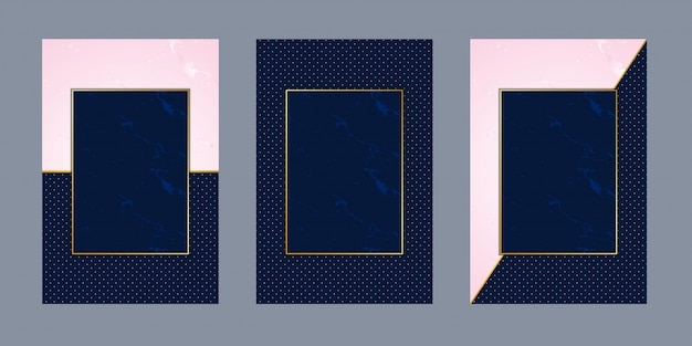 Biglietti d'invito marmo rosa punto blu lusso oro