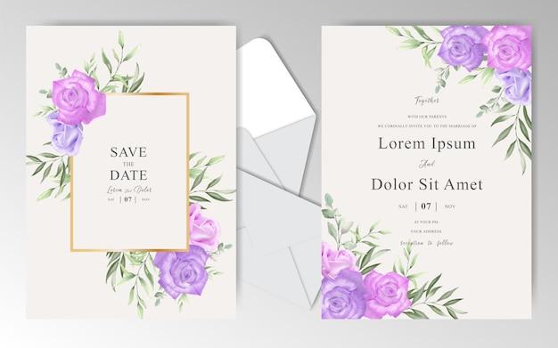 Biglietti d'invito matrimonio acquerello con bella rosa