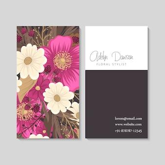 Biglietti da visita fiore fiori rosa caldo