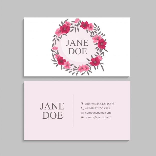 Biglietti da visita fiore rosa caldo