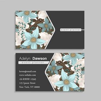 Biglietti da visita fiore verde menta