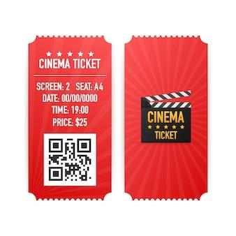 Biglietti del cinema isolati su fondo bianco. vista frontale realistica. banner del film. set di biglietti per film cinema