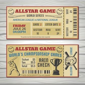 Biglietti per gare di baseball con attrezzatura sportiva per giocatori e codice a barre per trofei