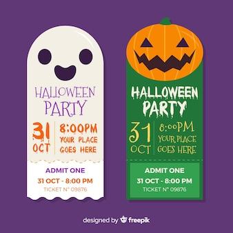 Biglietti per halloween con facce di fantasmi e zucca