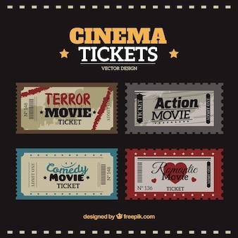 Biglietti per il cinema pacchetto in stile vintage