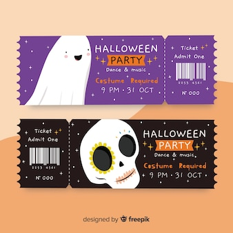 Biglietti per teschi e fantasmi per eventi di halloween
