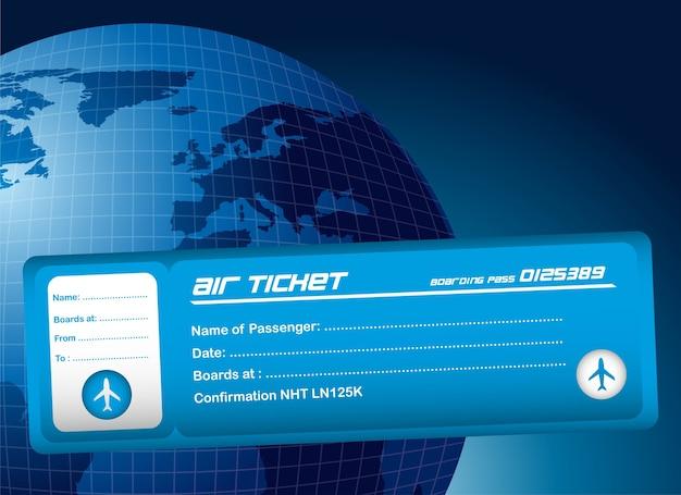 Biglietto aereo blu su sfondo blu pianeta