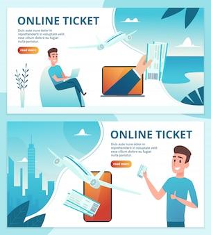 Biglietto aereo online. ordina i biglietti avia utilizzando il modello web della pagina di destinazione dello smartphone mobile