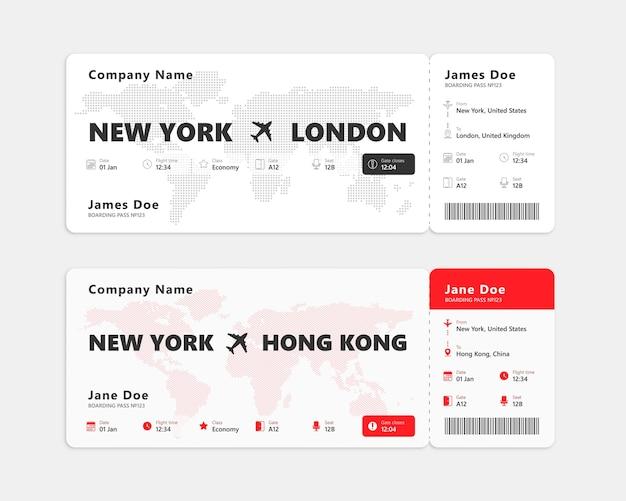 Biglietto aereo realistico su sfondo bianco. concetto di biglietto della carta d'imbarco. illustrazione