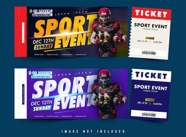 Biglietto con due opzioni o vettore di progettazione voucher, evento sportivo a tema con layout semplice