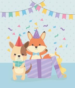 Biglietto d'auguri con personaggi di piccoli animali