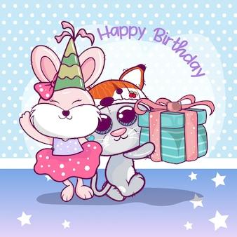 Biglietto d'auguri di compleanno con gattino carino e coniglio