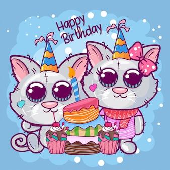 Biglietto d'auguri di compleanno con gattino carino